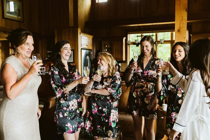toast with bride and bridesmaids