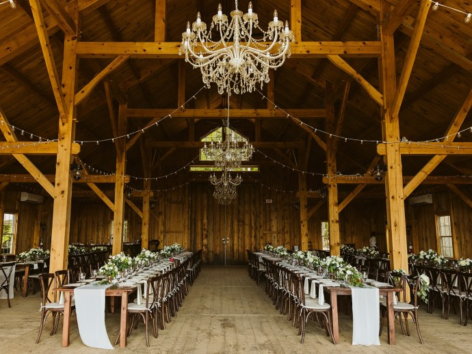 wedding reception decor at barn wedding
