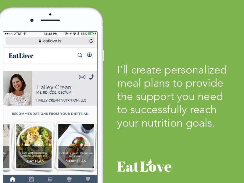 picture of a meal plan on iphone screen