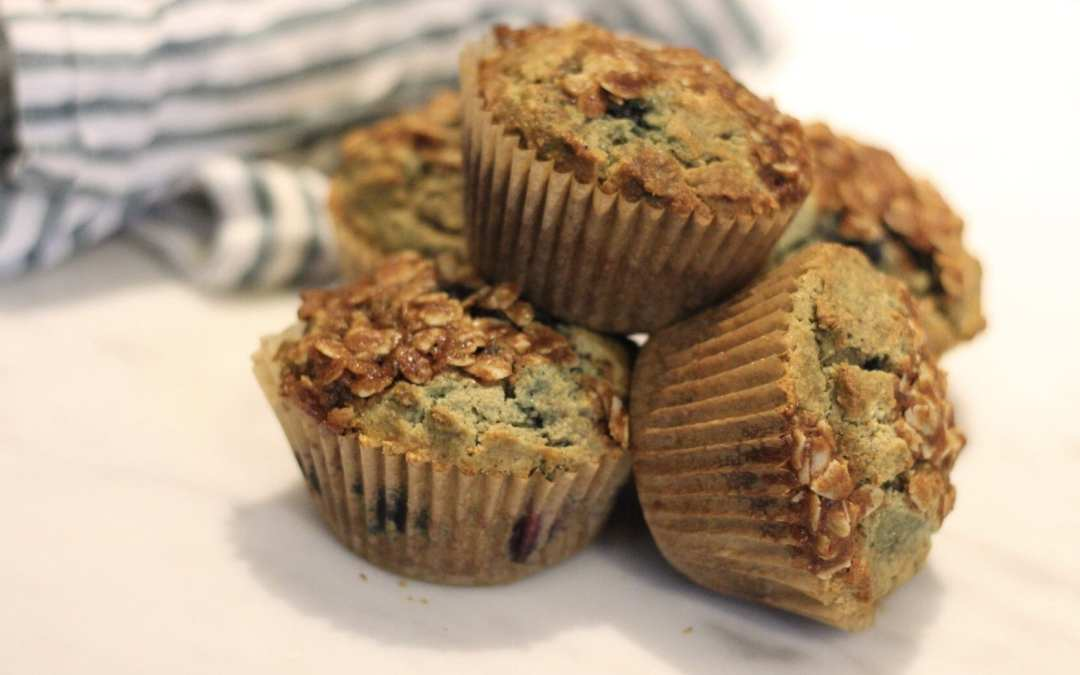 Blueberry Flax Oat Flour Muffins