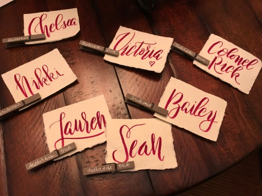 Place Cards for the Bridal Party