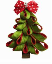 christmas tree hair bow clip