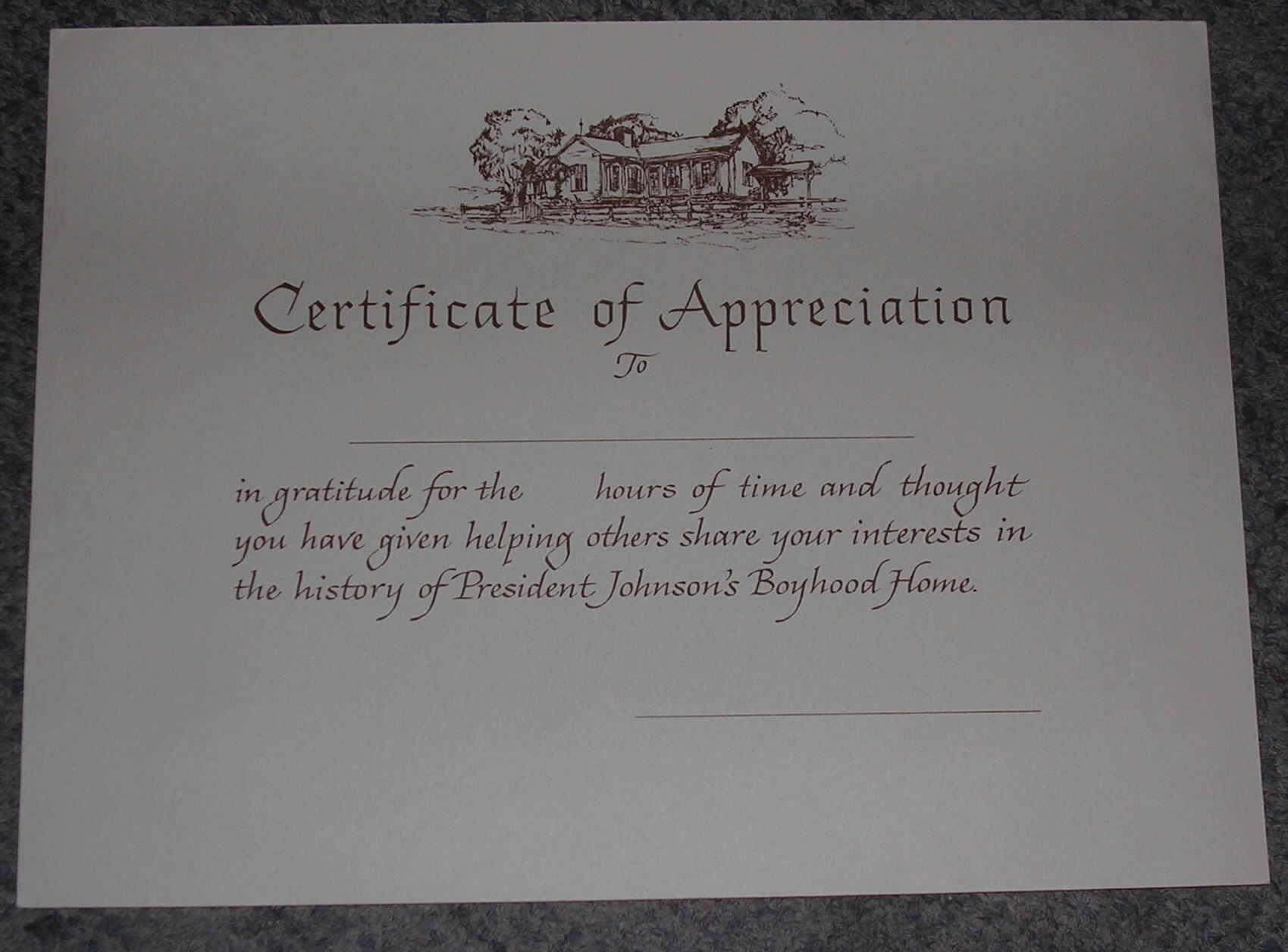 blank certificates of appreciation