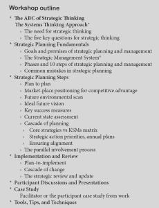Strategic Planning Workshop Outline