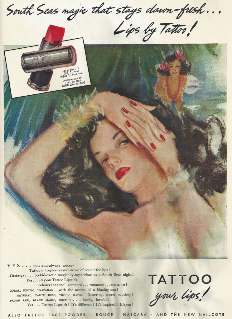 Tattoo lipstick advert from 1947
