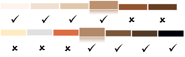 No dark brown or brownish black skin tones