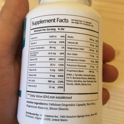 The list of Folexin Ingredients listed on the supplement facts.
