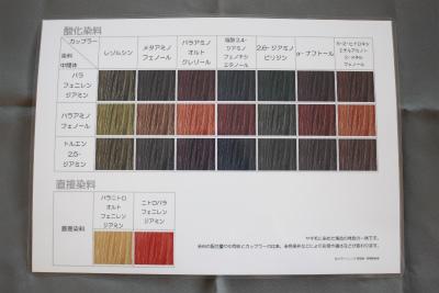 ヘアカラー染料チャート