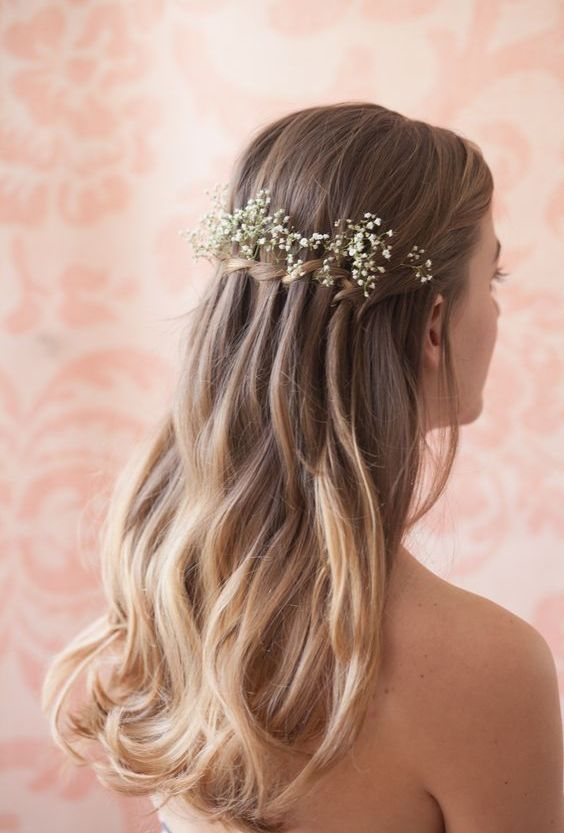 Waterfall-Hair-with-Flowers Ideas to Style Wedding Hairstyles for Fall