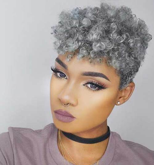 Grey-Colored Modern Short Hairstyles for Women