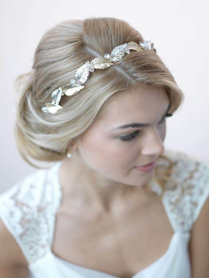 Dull-Gold-Leafy-Tiara Hairstyles with Tiara for Glam and Fab Look