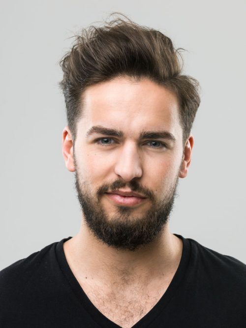 Brush-up Thick Hair, hairstyle for big forehead male