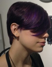 cool short haircut with purple