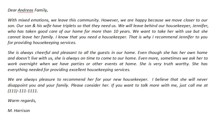 Housekeeper Recommendation Letter And Its Sample Template Creator
