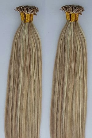 18 22 Highlighted 100grams 100strands U Tip Nail Fusion Keratin Pre Bonded Remy Human Hair Extensions 613 Dark Blonde Mixed With Platinum