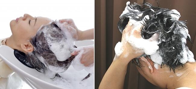 洗髪する男女