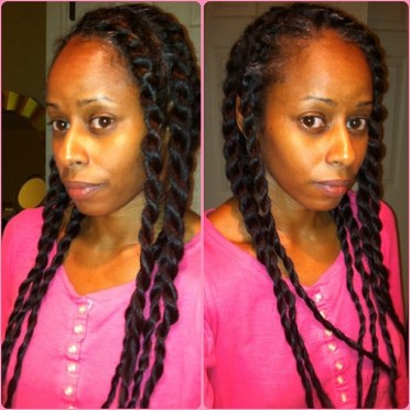 My two-strand flat twists (I set the ends on grey perm rods).