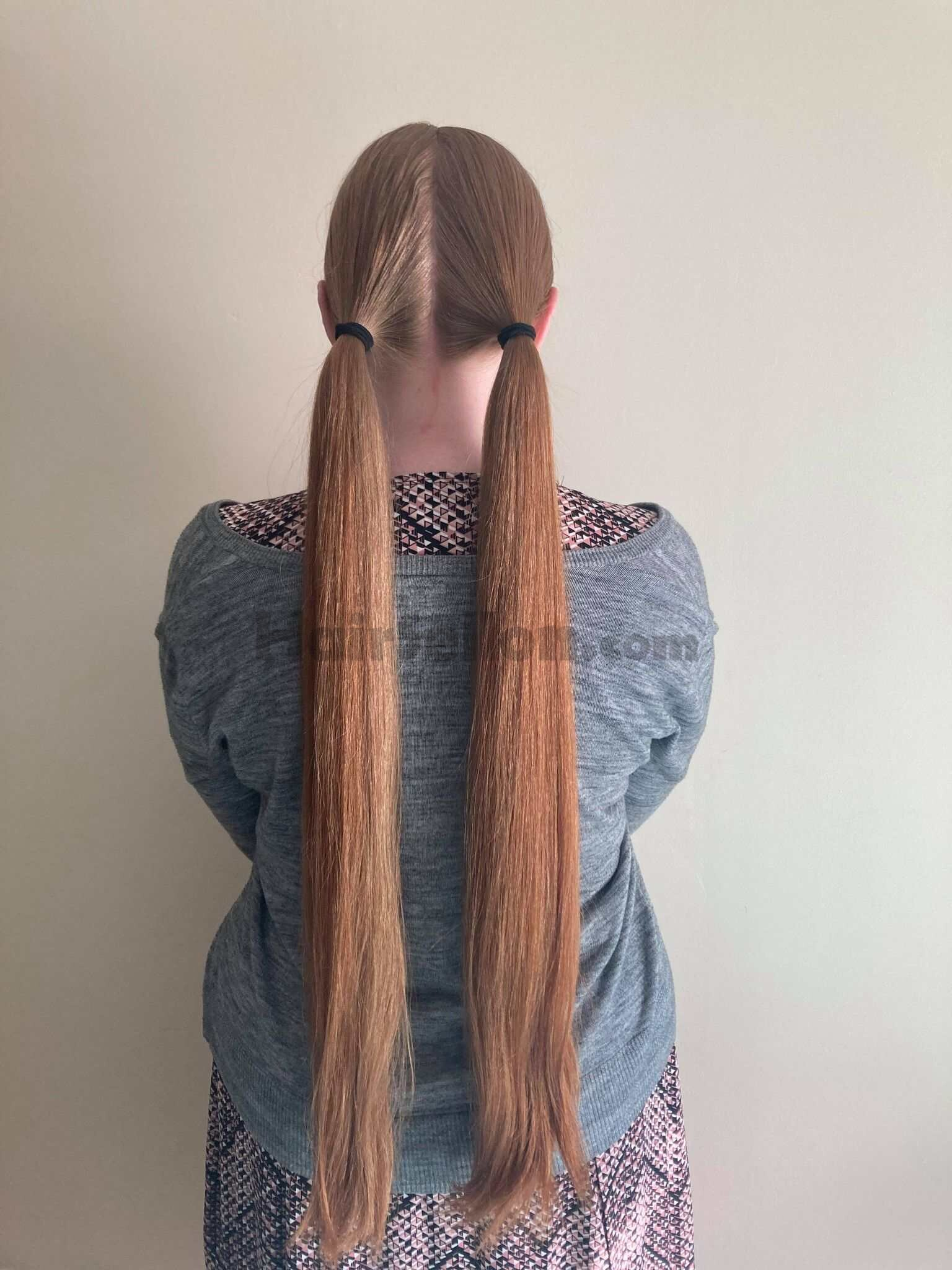 two ponytails; only natural light