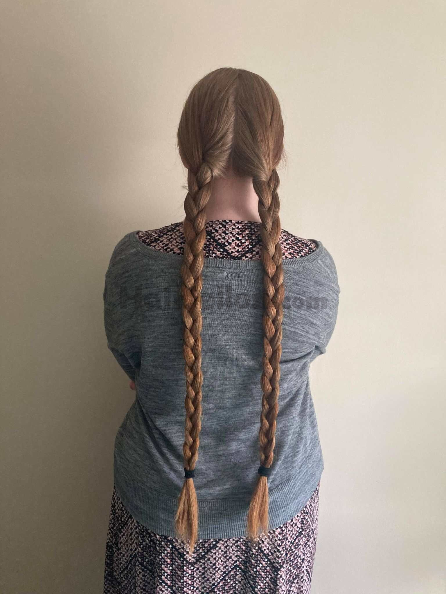 two braids; only natural light