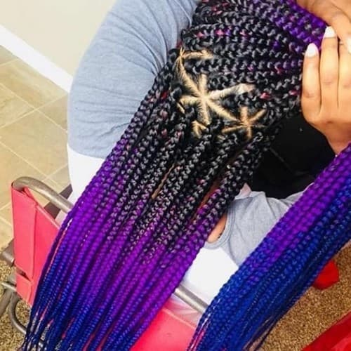 Black To Purple With With Blue Ombre Triangle Box Braid