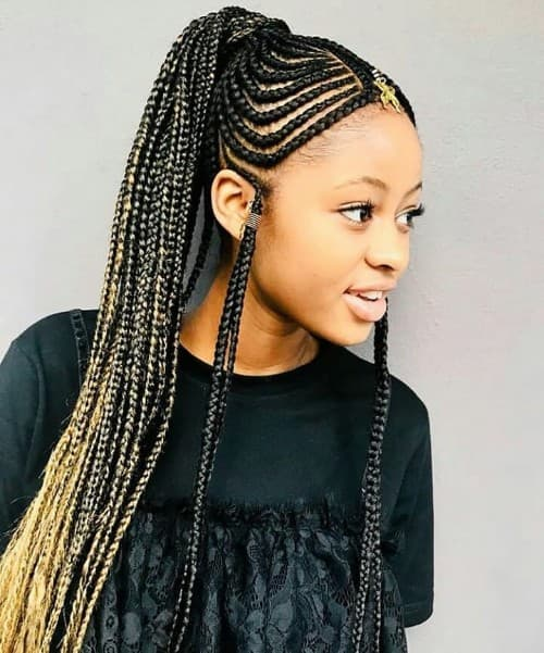 BLACK AND BLONDE OMBRE FULANI BRAIDING HAIRSTYLE