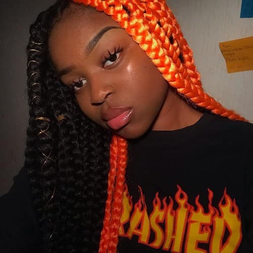 BLACK TO FIRE RED OMBRE BRAID