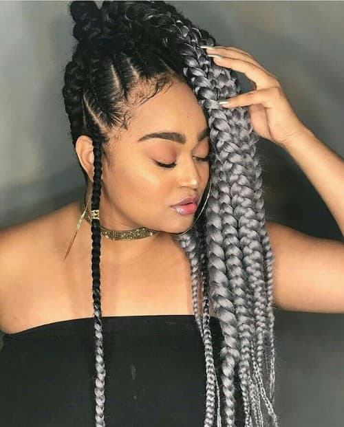 CREAMY OMBRE CHUNKY FEED-IN BRAID STYLE