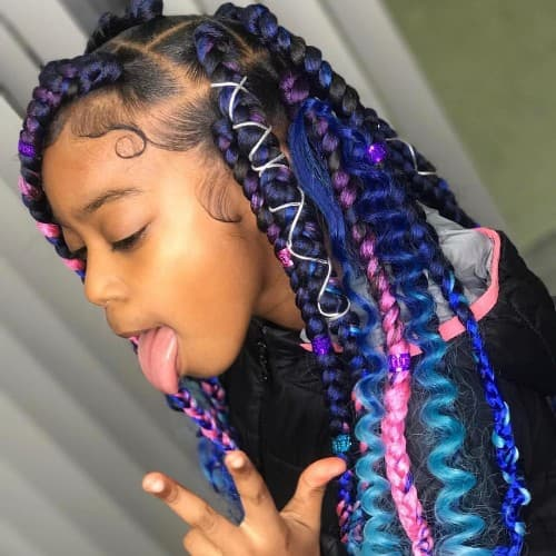 PURPLE TO BLUE + Pink TRIANGLE BOX BRAID FOR TODDLERS