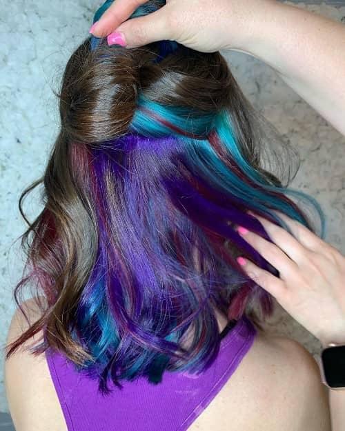 97 Cool Rainbow Hair Color Ideas to Rock Your Summer  |Rainbow Hair Underneath Light