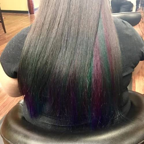 TWO REPEATING UNDERNEATH COLOR ON BLACK HAIR