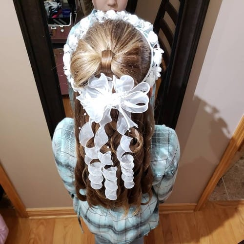 First Holy Communion Half-up Bow Hairstyle