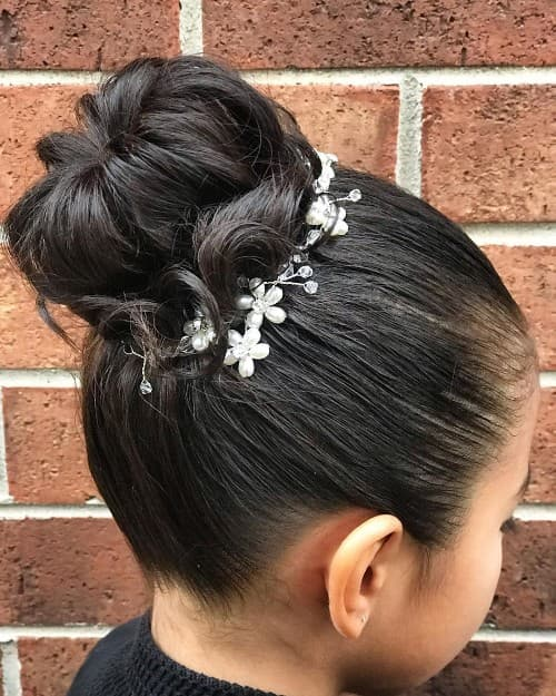 High Bun Updo Holy Communion Hairstyle