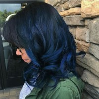 Dark Blue Hair Tips