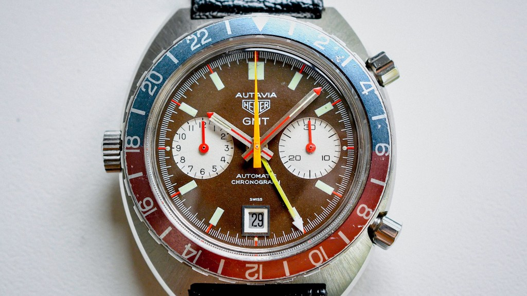 Tropical-Heuer-1163-GMT-Red-Needle