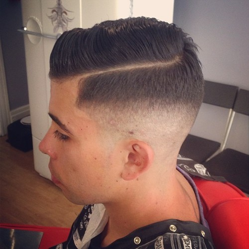 side part tapered fade