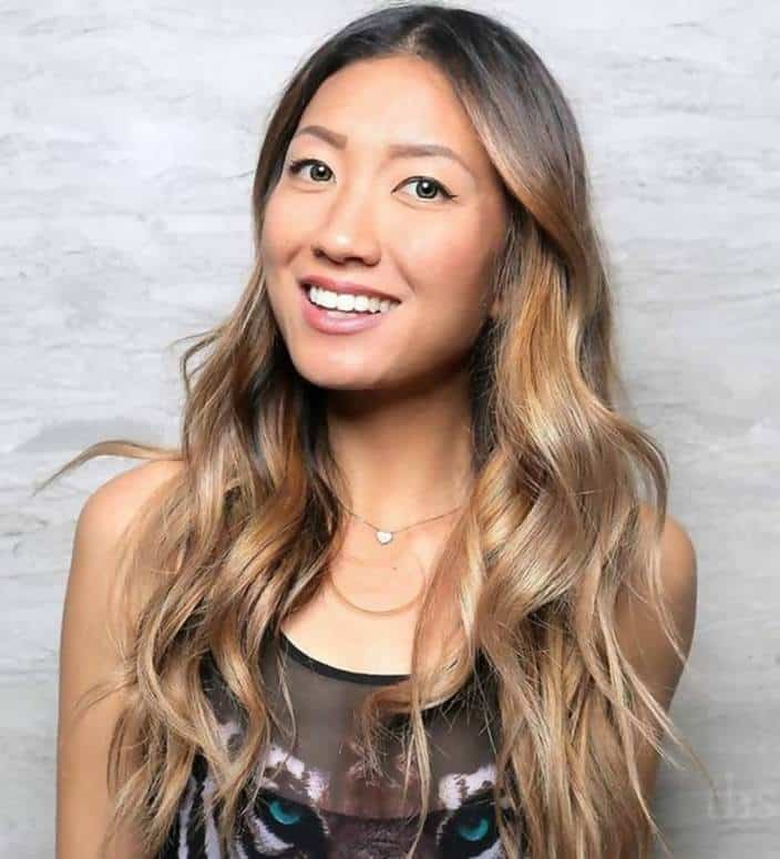 Asian blonde hair with golden highlights