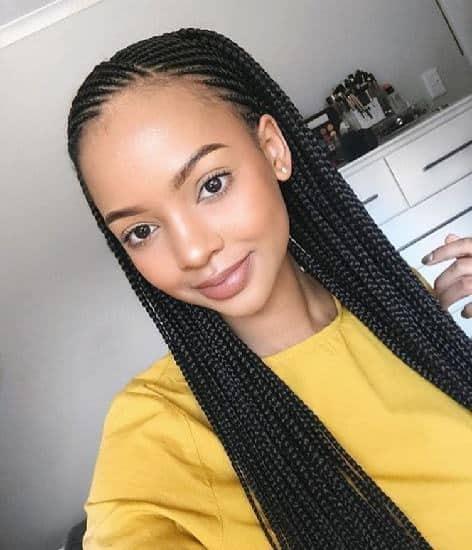 half cornrows with nigerian single braids