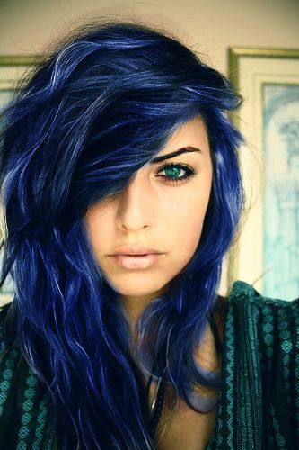 Blue Black Hair Tips And Styles