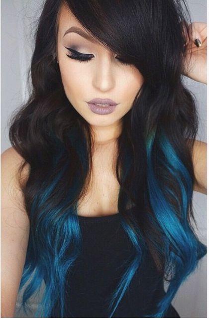 Black hair blue streaks the best black hair 2017 blue highlights in dark brown hair google search dream pmusecretfo Gallery