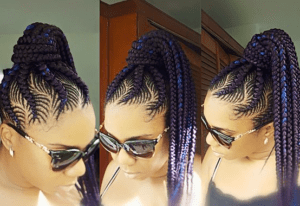 fishbone braid ponytail with purple and blue weave