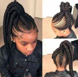 high ponytail chunky fishbone braids