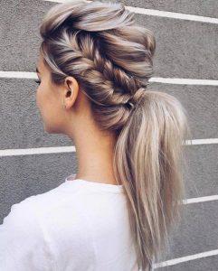 side braid to ponytail volume