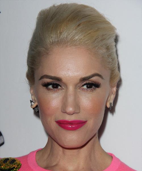 Gwen Stefani Long Straight Formal Updo Hairstyle Golden