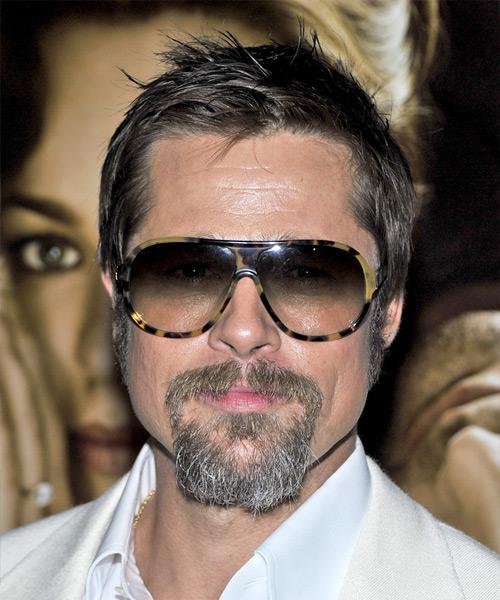 Brad Pitt Short Straight Casual Hairstyle Dark Ash