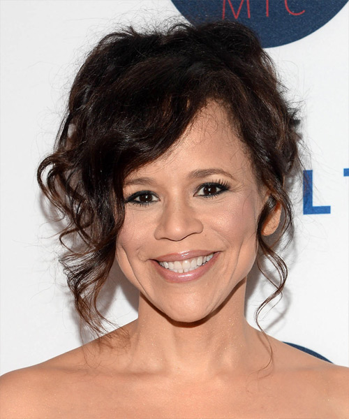 Rosie Perez Formal Long Curly Hairstyle  Dark Brunette
