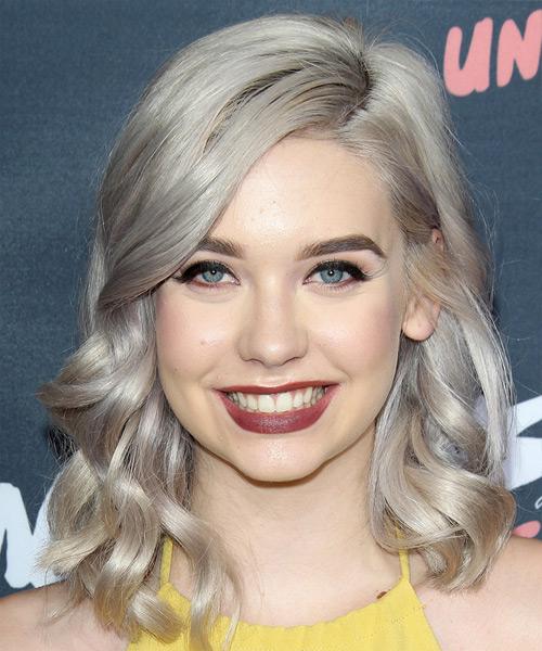 Amanda Steele Medium Wavy Formal Hairstyle Medium Grey