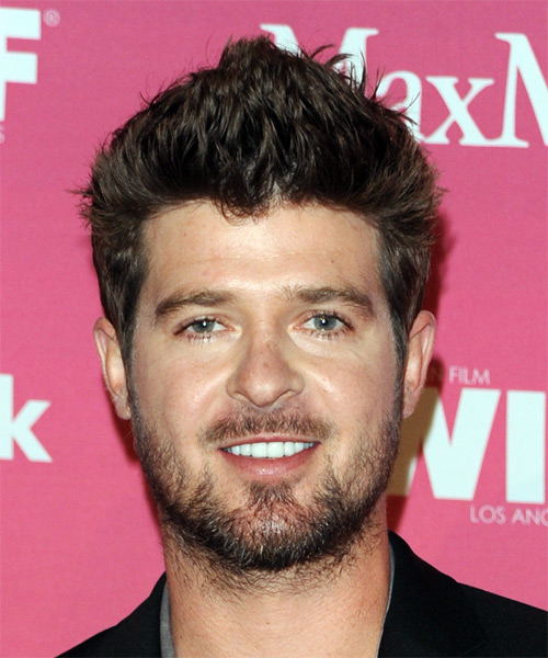 Robin Thicke Short Straight Casual Hairstyle Chestnut