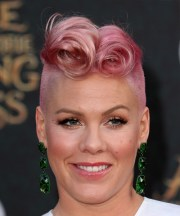 pink short curly alternative mohawk