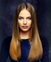 long straight brunette and red