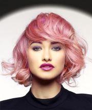 short wavy pink bob haircut